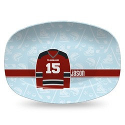 Hockey Plastic Platter - Microwave & Oven Safe Composite Polymer (Personalized)