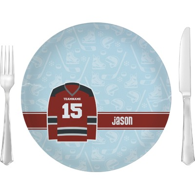 """Hockey 10"""" Glass Lunch / Dinner Plates - Single or Set (Personalized)"""