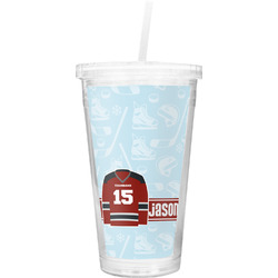 Hockey Double Wall Tumbler with Straw (Personalized)