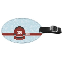 Hockey Genuine Leather Oval Luggage Tag (Personalized)
