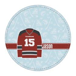 Hockey Round Desk Weight - Genuine Leather  (Personalized)