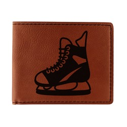 Hockey Leatherette Bifold Wallet - Single Sided (Personalized)