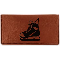 Hockey Leatherette Checkbook Holder - Double Sided (Personalized)