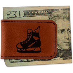 Hockey Leatherette Magnetic Money Clip - Single Sided (Personalized)
