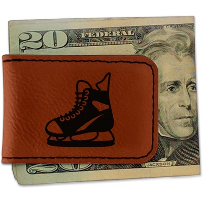 Hockey Leatherette Magnetic Money Clip (Personalized)