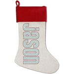 Hockey Red Linen Stocking (Personalized)