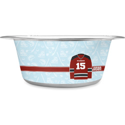 Hockey Stainless Steel Pet Bowl (Personalized)