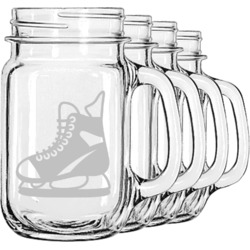 Hockey Mason Jar Mugs (Set of 4) (Personalized)
