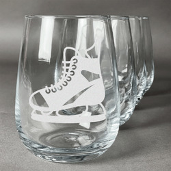 Hockey Wine Glasses (Stemless Set of 4) (Personalized)