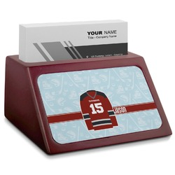Hockey Red Mahogany Business Card Holder (Personalized)