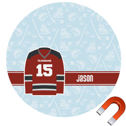 Hockey Round Car Magnet (Personalized)