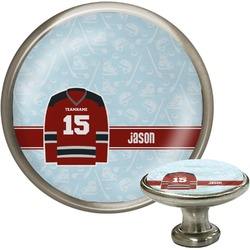 Hockey Cabinet Knob (Silver) (Personalized)