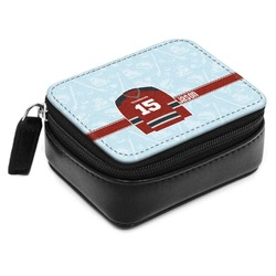Hockey Small Leatherette Travel Pill Case (Personalized)