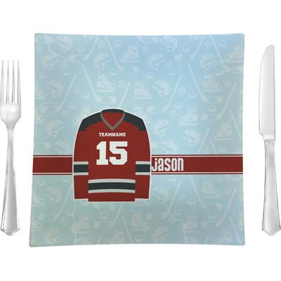 """Hockey 9.5"""" Glass Square Lunch / Dinner Plate- Single or Set of 4 (Personalized)"""