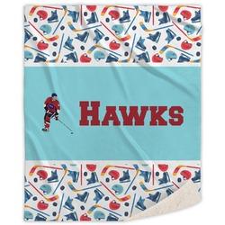 Hockey 2 Sherpa Throw Blanket (Personalized)