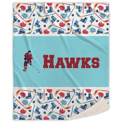 Hockey 2 Sherpa Throw Blanket (Personalized)