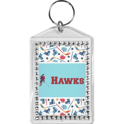 Hockey 2 Bling Keychain (Personalized)