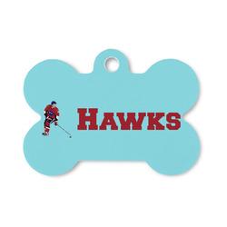 Hockey 2 Bone Shaped Dog Tag (Personalized)