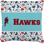 Hockey 2 Faux-Linen Throw Pillow (Personalized)