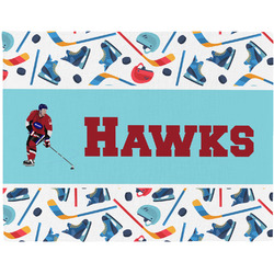 Hockey 2 Woven Fabric Placemat - Twill w/ Name or Text
