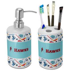 Hockey 2 Bathroom Accessories Set (Ceramic) (Personalized)