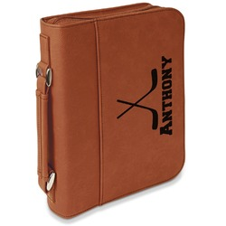 Hockey 2 Leatherette Bible Cover with Handle & Zipper - Large- Single Sided (Personalized)