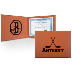 Hockey 2 Leatherette Certificate Holder (Personalized)