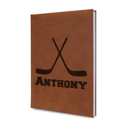 Hockey 2 Leatherette Journal (Personalized)