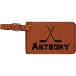 Hockey 2 Leatherette Luggage Tag (Personalized)