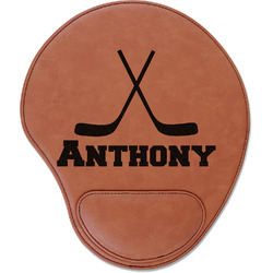 Hockey 2 Leatherette Mouse Pad with Wrist Support (Personalized)