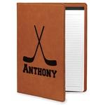 Hockey 2 Leatherette Portfolio with Notepad (Personalized)
