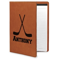 Hockey 2 Leatherette Portfolio with Notepad (Personalized)