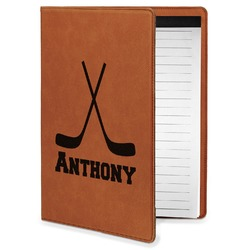 Hockey 2 Leatherette Portfolio with Notepad - Small - Single Sided (Personalized)