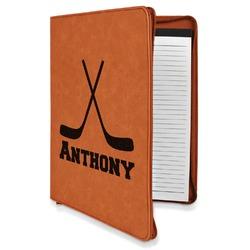 Hockey 2 Leatherette Zipper Portfolio with Notepad (Personalized)