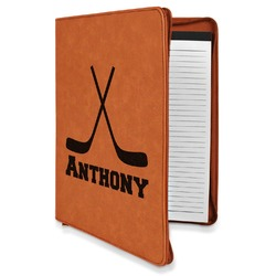 Hockey 2 Leatherette Zipper Portfolio with Notepad (Personalized)