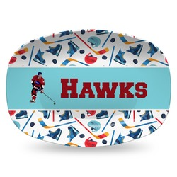 Hockey 2 Plastic Platter - Microwave & Oven Safe Composite Polymer (Personalized)