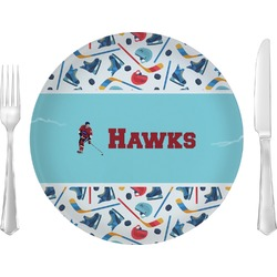 """Hockey 2 Glass Lunch / Dinner Plates 10"""" - Single or Set (Personalized)"""