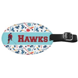 Hockey 2 Genuine Leather Oval Luggage Tag (Personalized)