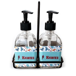 Hockey 2 Soap & Lotion Dispenser Set (Glass) (Personalized)