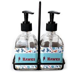 Hockey 2 Soap & Lotion Dispenser Set (Glass) (Personalized)
