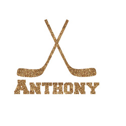 Hockey 2 Glitter Iron On Transfer- Custom Sized (Personalized)
