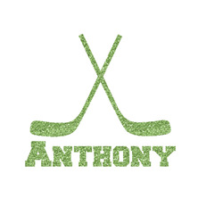 """Hockey 2 Glitter Iron On Transfer - Up to 15""""x15"""" (Personalized)"""