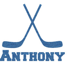 """Hockey 2 Glitter Sticker Decal - Up to 4.5""""X4.5"""" (Personalized)"""