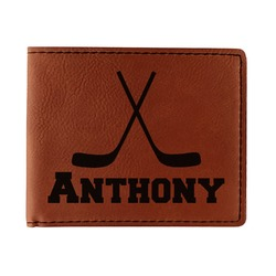 Hockey 2 Leatherette Bifold Wallet - Single Sided (Personalized)