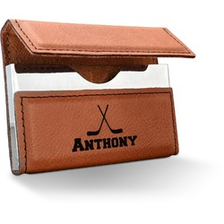 Hockey 2 Leatherette Business Card Holder (Personalized)