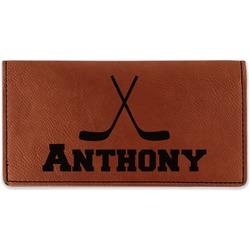 Hockey 2 Leatherette Checkbook Holder - Double Sided (Personalized)