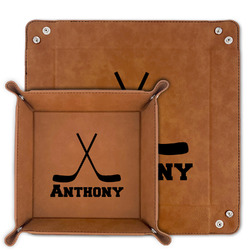 Hockey 2 Faux Leather Valet Tray (Personalized)