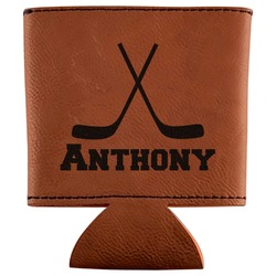 Hockey 2 Leatherette Can Sleeve (Personalized)