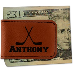 Hockey 2 Leatherette Magnetic Money Clip - Single Sided (Personalized)