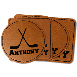 Hockey 2 Faux Leather Iron On Patch (Personalized)